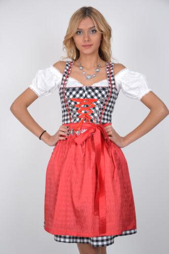 Dirndl Set 3tlg Trachtenkleid 363gt Schwarz kariert Oktoberfest Gr 34 bis 42