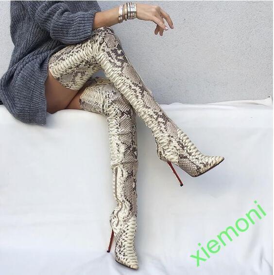 Peau De Serpent Sur Bottes Hautes Femmes Cuisse Haute Botte Stiletto Chaussures en cuir hot