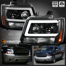 For 2007 2013 Chevy Avalanche Tahoe Suburban Black Led Tube Projector Headlights Fits 2007 Chevrolet Suburban 1500