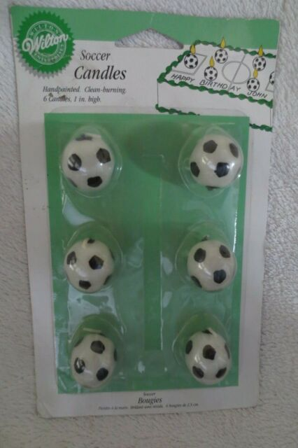 Awe Inspiring Wilton Soccer Balls Birthday Cake Decorating Candles 6 Count For Funny Birthday Cards Online Overcheapnameinfo