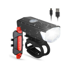 Usb Rechargeable Led Bicycle Headlight Bike Head Light Front Rear Lamp Cycling *