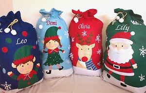 Personalizzato-Natale-Sacco-Babbo-Natale-nome-ricamato-Sacco-regalo-Natale-EXTRA-LARGE