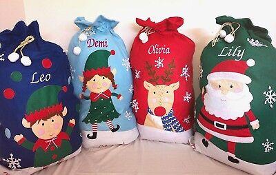Personalised Christmas Santa Sack Elf Xmas Present Stocking