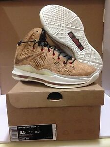 on sale caefc 58bcf Image is loading Nike-LeBron-X-10-EXT-QS-034-Cork-