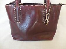 Fossil Women's Handbag Burgundy Brown Leather Cross Body Tote Purse