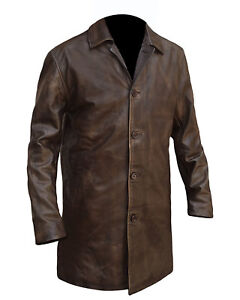 559c3b126 Details about Men's Dean Winchester Supernatural Distressed Brown Genuine  Leather Trench Coat