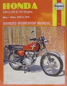haynes manual 0188 honda cb100 cl100 sl100 cb125s cb125j rh ebay co uk Honda CB 100 honda gl 100 service manual