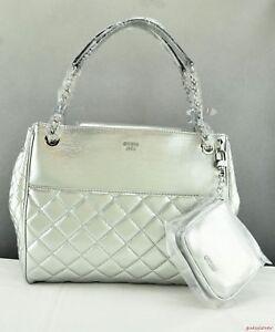 Details about NEW Chic Bag GUESS Wilson Womens Silver Satchel NEUF Premium originally show original title