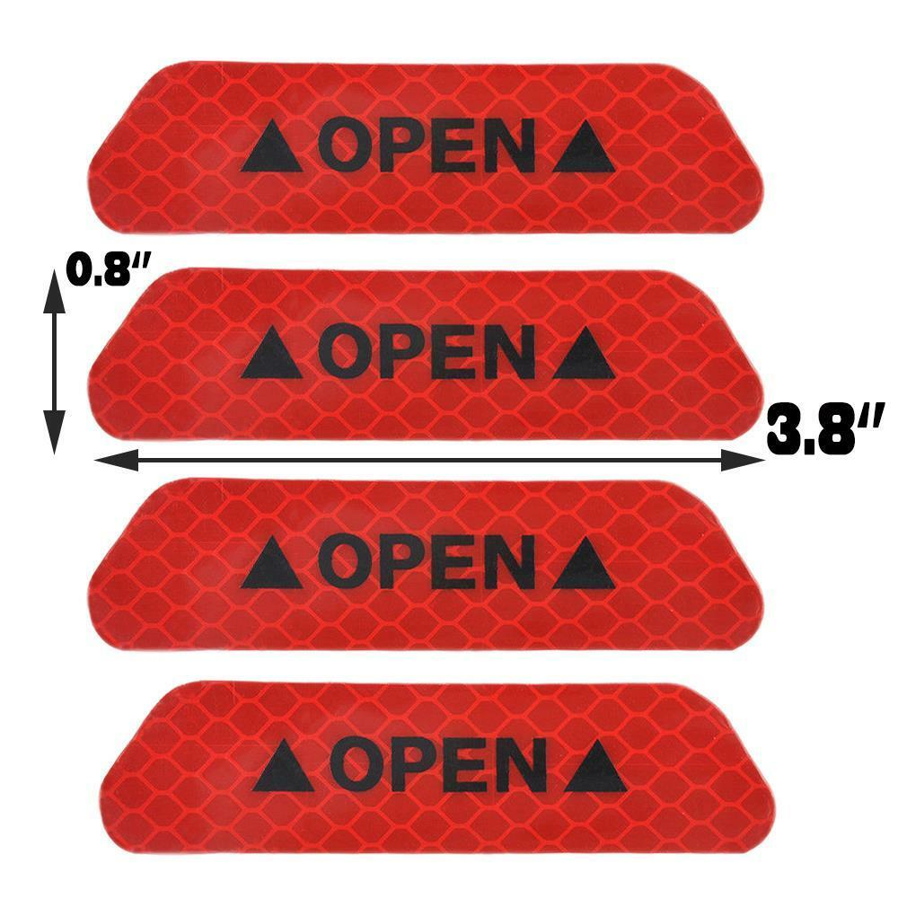 Red 4PCS Super Car Door Open Sticker Reflective Tape Safety Warning Decal 3