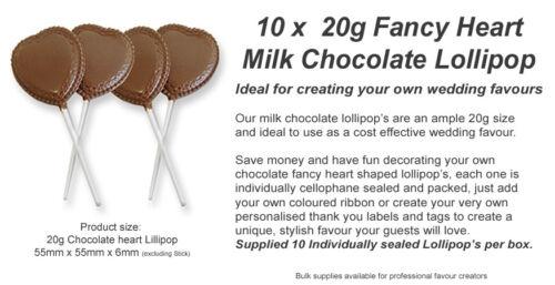 10 Milk Chocolate Fancy Heart Lollipops Make your own Unique Favours /& Gifts.