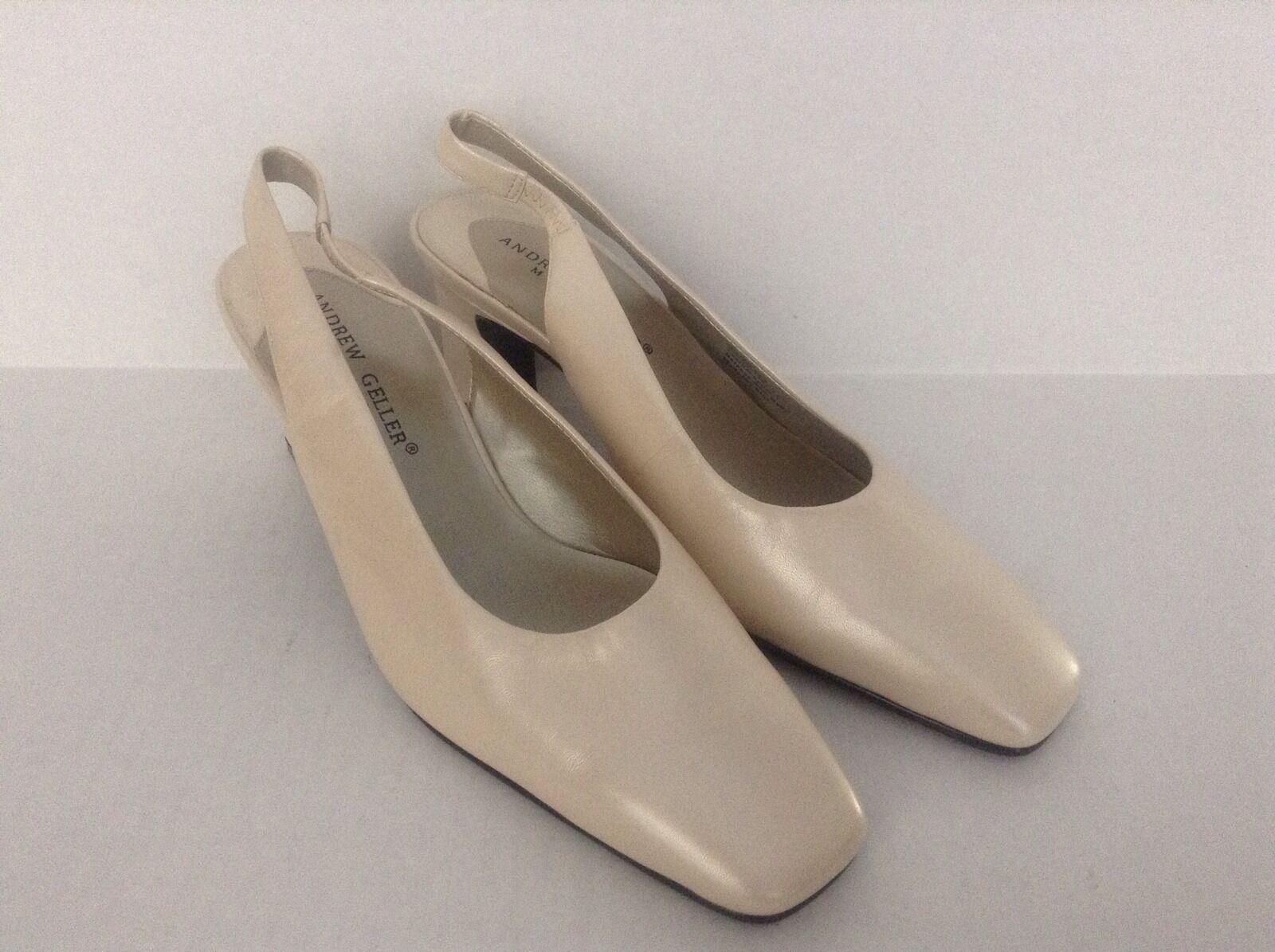 Women's Andrew Geller Leather Pearl White Med. Heel Slingback Dress Shoes 8M