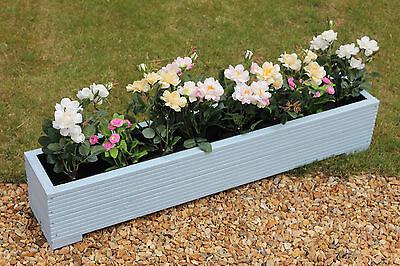 cm Light Blue 120x22x23 WOODEN GARDEN PLANTER TROUGH PLANT POT