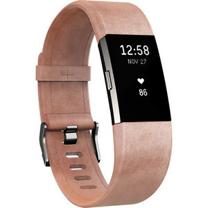 Fitbit Charge 2 FB160LBPKS Band Leather Blush Pink Small for sale