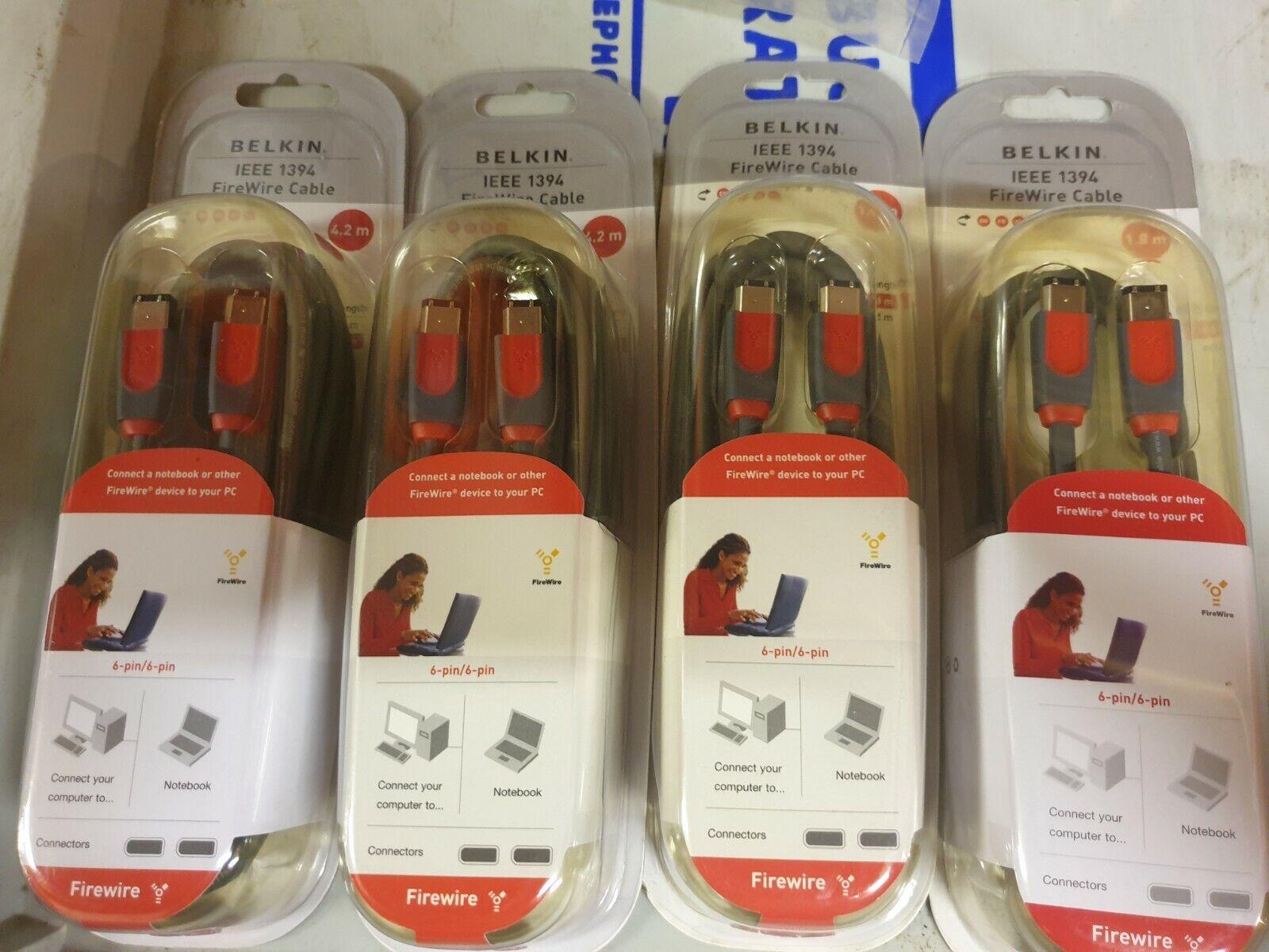 JOB LOT NEW Qty 4 Belkin Firewire Cables [2 x 4.2m] [2 x 1.8m] 6-pin/6-pin