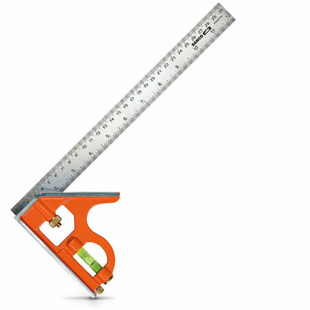 Bahco COMBINATION SQUARE CS300 300mm 45 & 90 Deg With Level,Stainless Steel Rule