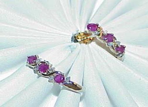 10K .33ct 6 Ruby 8 Diamond Post Earrings Yellow gold 1 2 Hoop Vintage