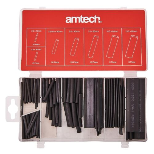 127Pcs Heat Shrink Tube Assortiment Wire Wrap isolation électrique Manches Noir