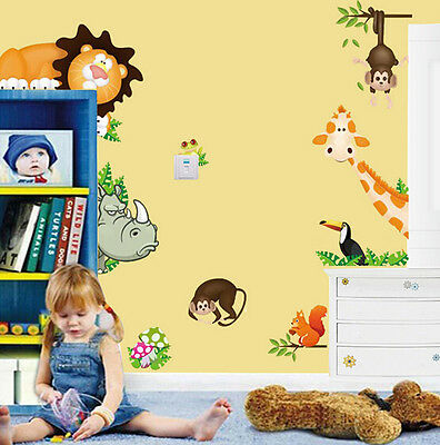 Popular Wall Sticker Jungle Wild Animal Decal Mural For Kids Nursery Room Decor