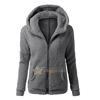 Womens Thicken Fleece Fur Warm Winter Coat Hooded Parka Overcoat Jacket Outwear