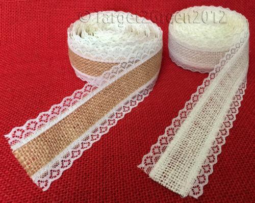 Laced Natural Jute Burlap Hessian Ribbon Tape Rustic Wedding Favours Floristry