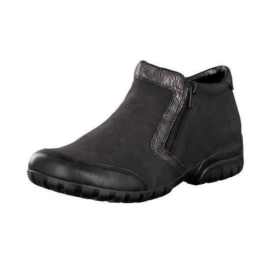 LADIES RIEKER L4659-00 BLACK FUR BOOT LINED ANKLE BOOT FUR cb75d5