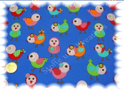 Sweet Birds Popeline Baumwolle Vögel blau 50 cm Webware Stenzo