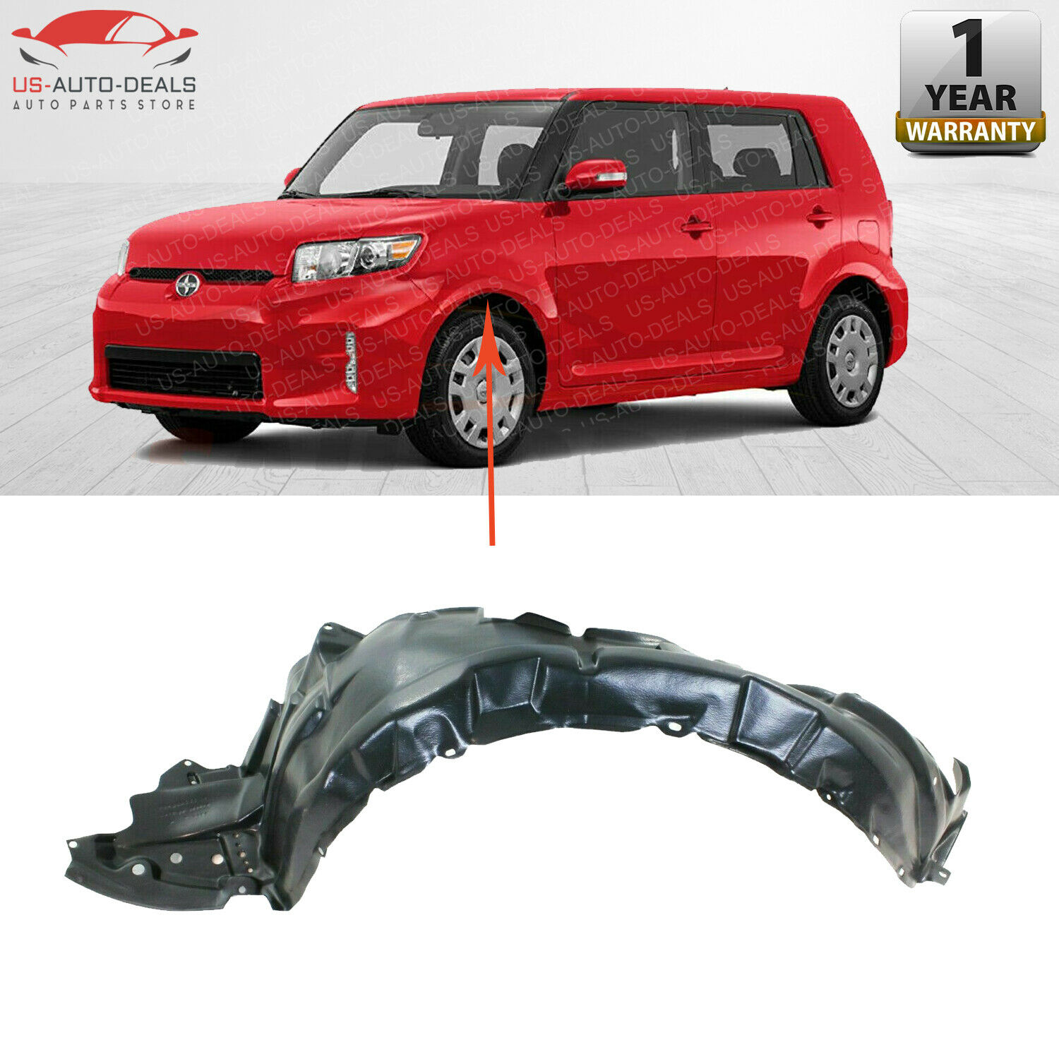 Fender Liner Compatible with 2011-2015 Scion xB Plastic Front Passenger Side