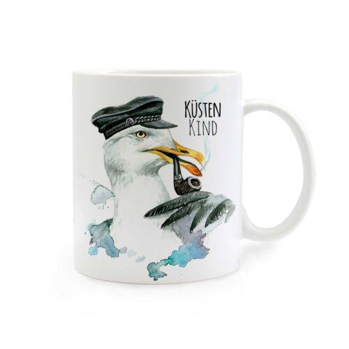 Kaffeebecher Kaffeetasse Becher Tasse Kapitän Möwe mit Spruch Küstenkind ts276