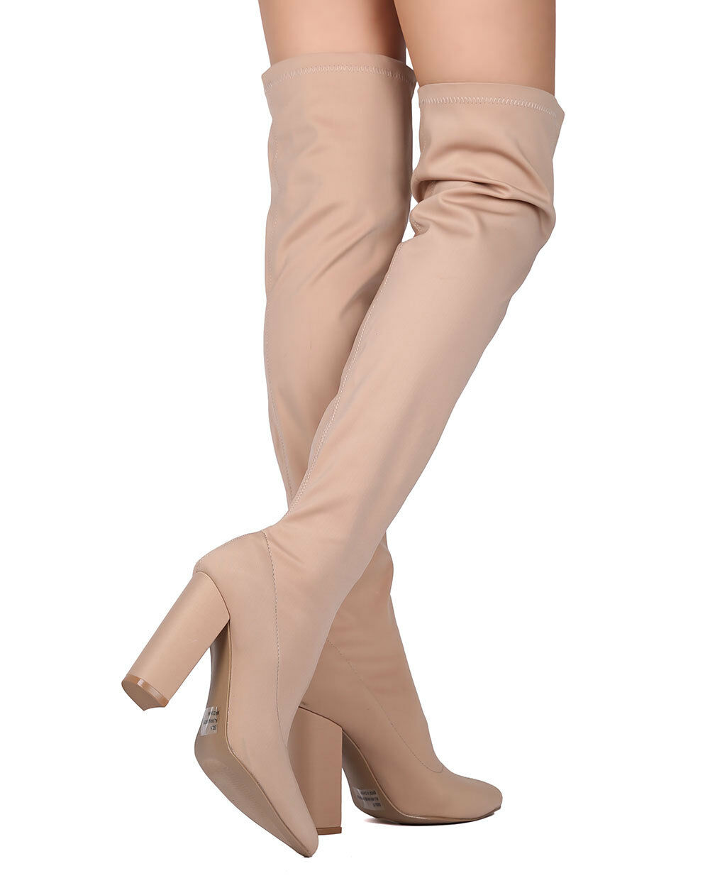 New Women Qupid Signal-20 Lycra Over The Knee Pointy Toe Chunky Heel Boot