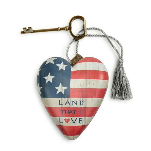 Land That I Love Patriotic 4 inch Resin Stone Collectible Art Heart Figurine