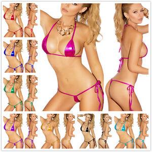 15b5405573 Image is loading Women-Sexy-Lingerie-Metallic-Micro-Mini-Bikini-Bra-
