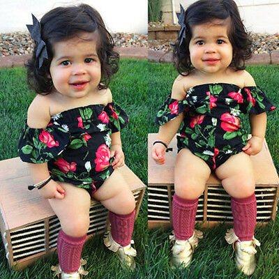 Newborn Infant Kid Baby Girl Off Shoulder Flower Romper Sunsuit Jumpsuit Clothes