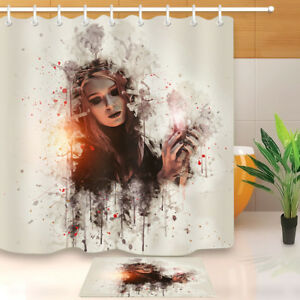 Image Is Loading Waterproof Fabric Gothic Dark Red Hair Witch Shower
