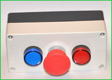 1x New Emergency Stop Switch With 2 Pilot Light Red And Blue Control Box