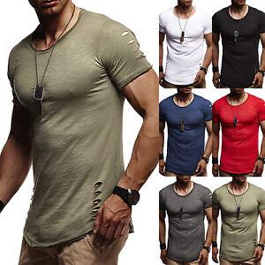 big sale f3f53 bfee4 Details zu Herren Zerrissen Lässige T-Shirt Enge Passform Muskel Oberteile