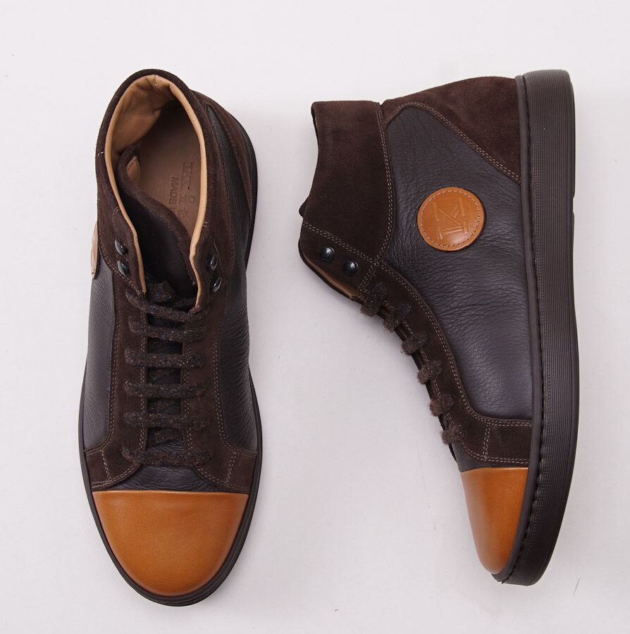 NIB 1695 KITON Chocolate Brown Calf Leather High-Top Sneakers US 9 D Shoes