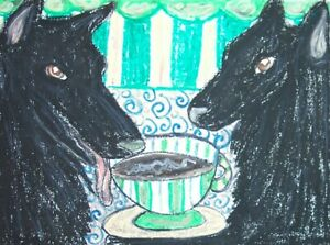 BELGIAN-SHEEPDOG-Drinking-Coffee-Dog-Pop-Art-Print-8x10-Signed-by-Artist-KSAMS