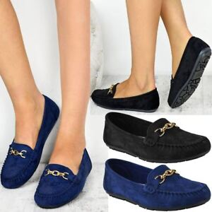 Womens Girls Black Flat Loafers Shoes Driving Moccasin Pumps School Work  Office | eBay