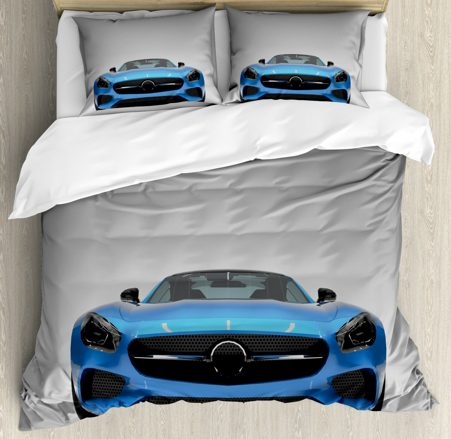 Teen Room Duvet Cover Set with Pillow Shams Sports Vehicle Auto Print