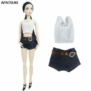 White-Tops-Short-Jean-Pants-Doll-Clothes-for-Barbie-Doll-Outfits-1-6-BJD-Dolls