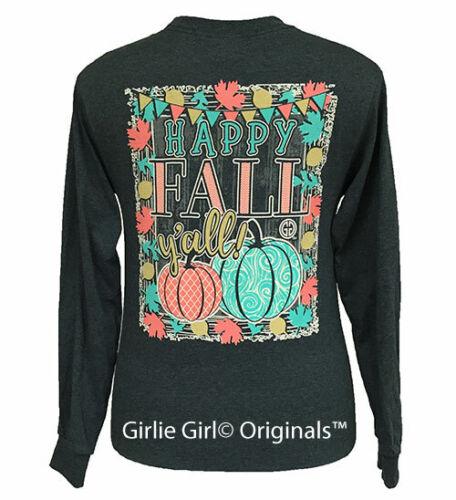 Girlie Girl Originals Tees Happy Fall Y'all #3 Dark Heather Long Sleeve T-Shirt
