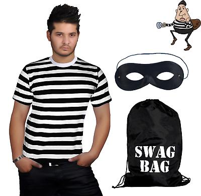 MENS BURGLAR FANCY DRESS COSTUME TOP AND MASK HALLOWEEN ROBBER THIEF UK 8-16