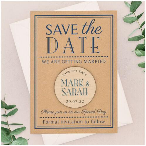 Personnalisé Classique Bleu Marine Save the Date cartes en bois Aimants Kraft Carte