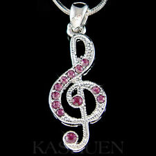 w Swarovski Crystal ~Purple TREBLE g CLEF Musical music NOTE Charm Necklace Xmas