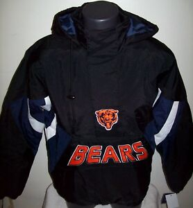 8dd06c7c570 Image is loading CHICAGO-BEARS-Starter-Hooded-Half-Zip-Pullover-Jacket-