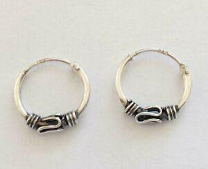 925-Sterling-Silver-Bali-Thai-Oxidised-12mm-10mm-Sleepers-Hoop-Earrings-Boy-Girl