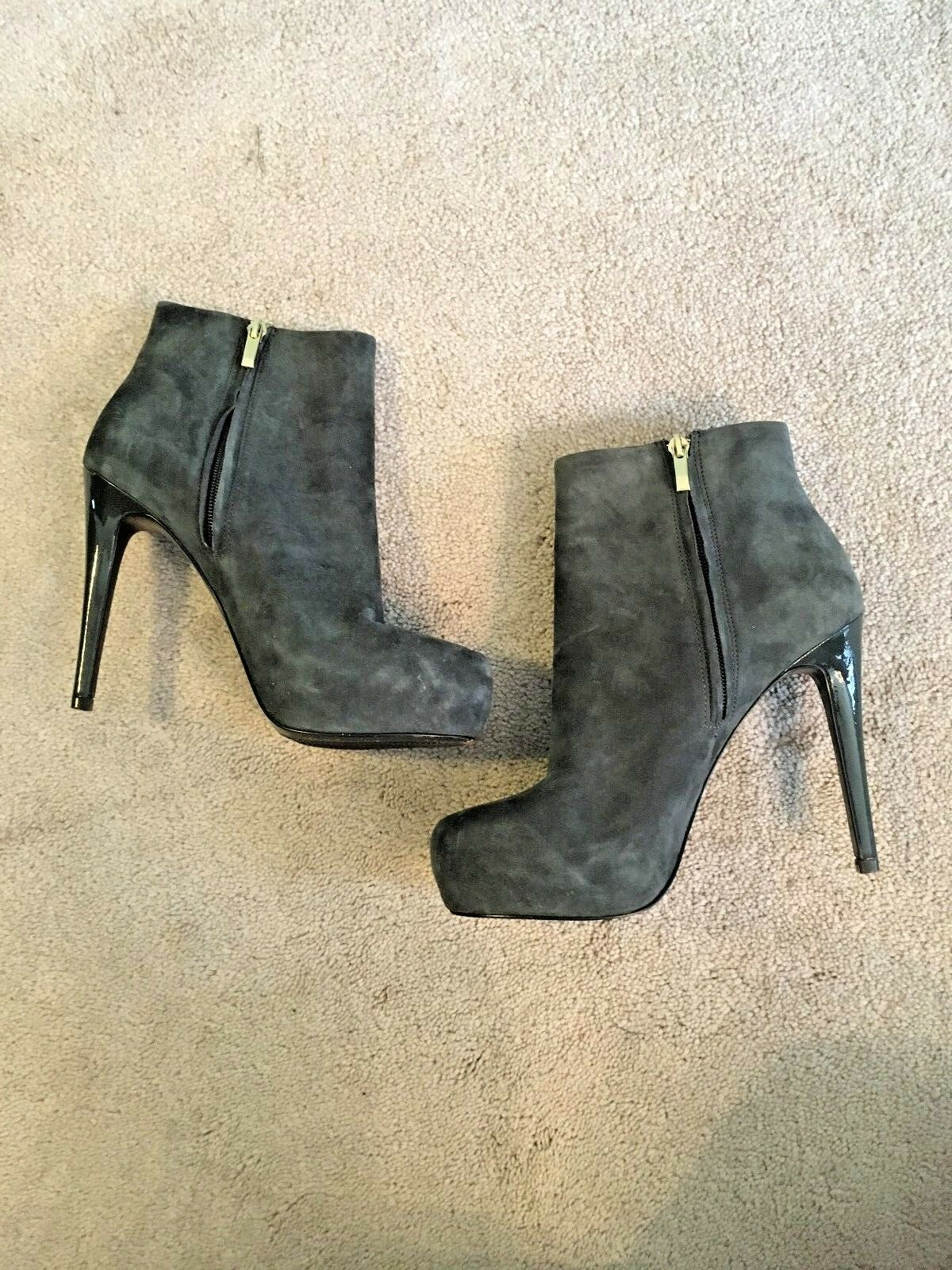 Diane Von Furstenberg Gray - Suede High Heeled Booties - Gray 8.5M c16254