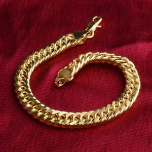 Fashion-Yellow-Gold-Bracelet-Bangle-Chain-Women-Men-Punk-Jewelry