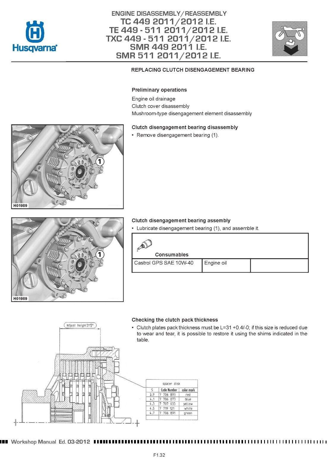Husqvarna Service Workshop Manual Txc 449 511 2011 2012 I E Ebay Engine Diagram