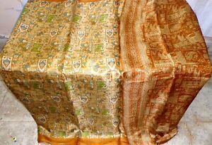 SILK-BLEND-Antique-Vintage-Sari-Saree-Fabric-Material-4yd-Z15-250-Cream-ABEVG